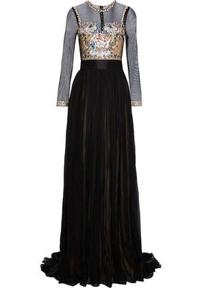 Catherine Deane Woman Jocelyn Embroidered Tulle-paneled Pleated Silk-chiffon Gown Black Size 12