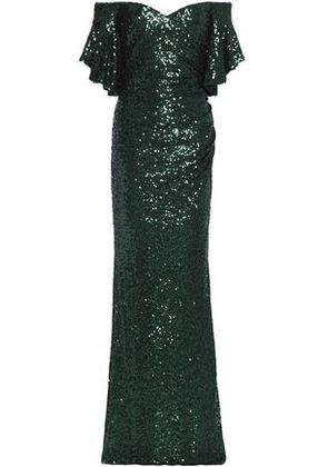 Badgley Mischka Woman Off-the-shoulder Gathered Sequined Tulle Gown Dark Green Size 6
