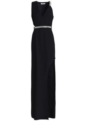 Halston Heritage Woman Bead-embellished Cutout Crepe Gown Black Size 6