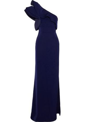 Mikael Aghal Woman One-shoulder Ruffle-trimmed Satin-crepe Gown Navy Size 2