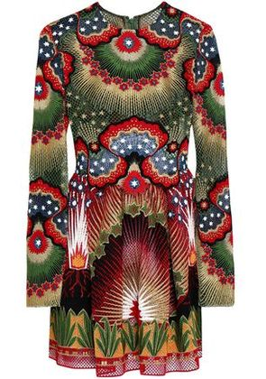 Valentino Woman Pintucked Point D'esprit, Printed Crepe And Jacquard Mini Dress Multicolor Size 40