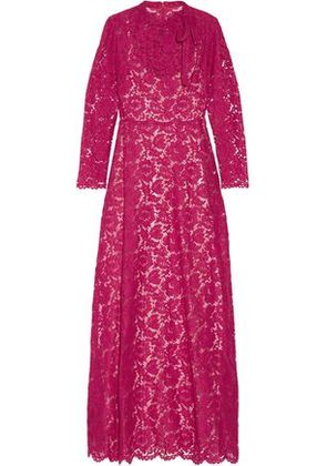 Valentino Woman Pleated Bow-embellished Corded Lace Gown Fuchsia Size 42