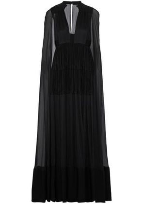Valentino Woman Cape-back Pleated Crepe And Silk-chiffon Gown Black Size 38