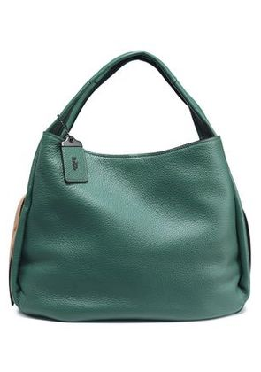 Coach Woman Textured-leather Shoulder Bag Emerald Size -
