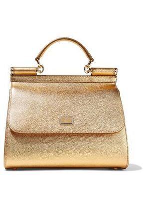 Dolce & Gabbana Woman Metallic Textured-leather Shoulder Bag Gold Size -