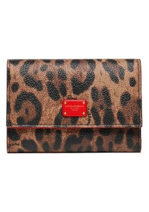 Dolce & Gabbana Woman Textured Faux Leather Wallet Animal Print Size -