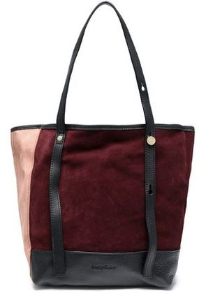 See By Chloé Woman Andy Leather-trimmed Color-block Suede Tote Burgundy Size -