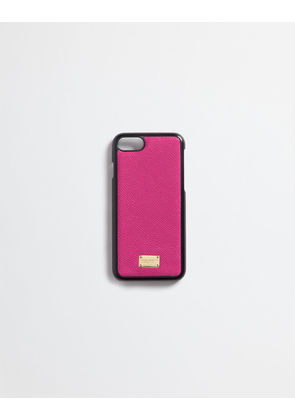 Dolce & Gabbana Hi-Tech Accessories - IPHONE 7 COVER WITH PRINTED DAUPHINE LEATHER DETAILS SHOCKING PINK