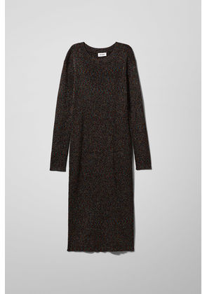 Kayla Knitted Lurex Dress - Black