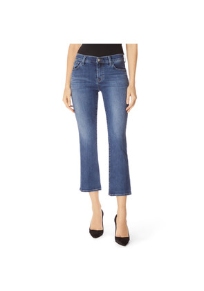 Selena Mid Rise Cropped Boot Cut Jeans - Polaris Destruct