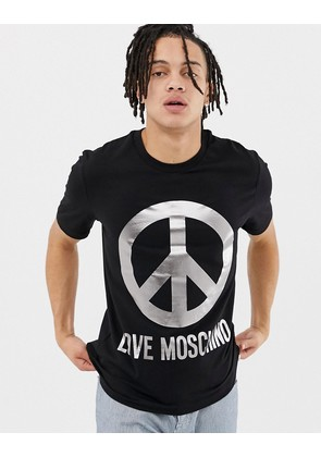 Love Moschino T-Shirt in Black With Peace Logo
