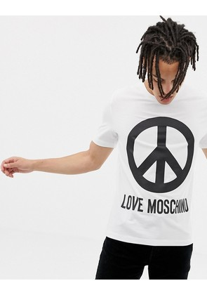 Love Moschino T-Shirt in White With Peace Logo