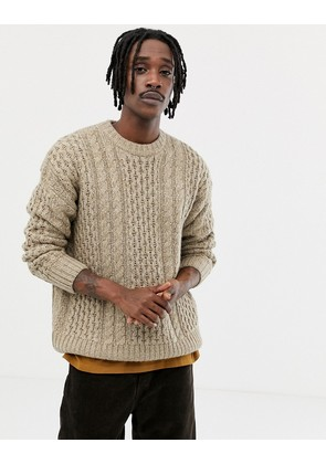 Weekday Larry cable knit jumper in beige