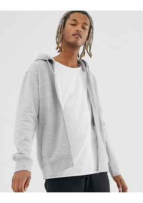 Weekday Bom Zip hoodie in grey
