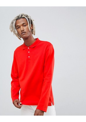 Weekday Long Sleeve Polo Top In Red