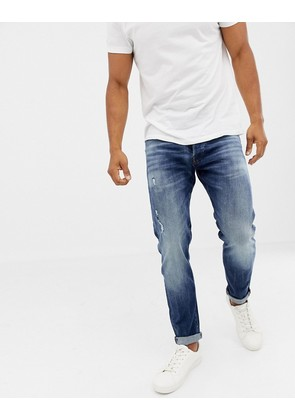 Jack & Jones Jeans In Tapered Fit Washed Blue Denim
