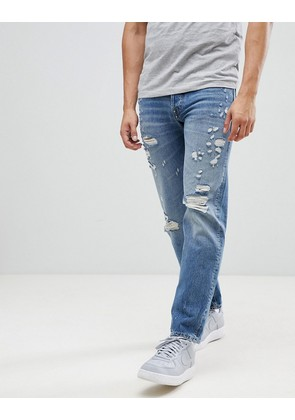 Jack & Jones Intelligence Tapered Fit Jeans with Distress Detail
