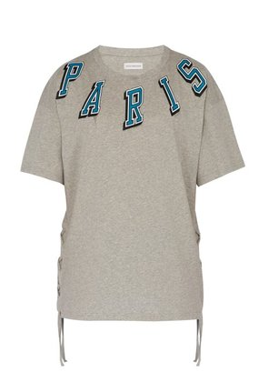 Faith Connexion - Paris Print Tie Detail Cotton T Shirt - Mens - Grey