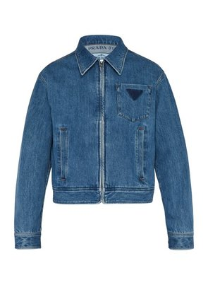 Prada - Washed Logo Denim Jacket - Mens - Blue
