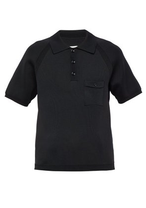 Maison Margiela - Technical Knit Polo Shirt - Mens - Black