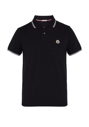 Moncler - Logo Appliqué Cotton Piqué Polo Shirt - Mens - Navy