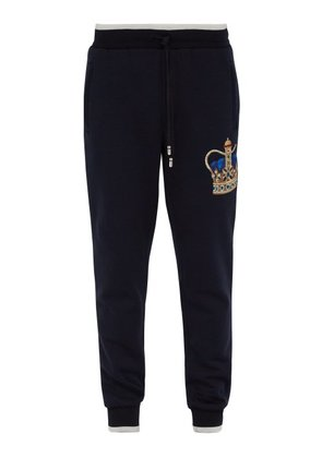 Dolce & Gabbana - Crown Embroidered Cotton Track Pants - Mens - Navy
