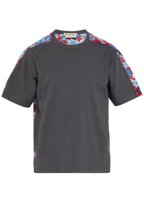 Marni - Floral Print Cotton Jersey T Shirt - Mens - Grey