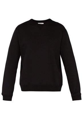 Valentino - Vltn Logo Embossed Cotton Blend Sweatshirt - Mens - Black