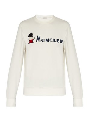 Moncler - Logo Appliqué Loopback Cotton Sweatshirt - Mens - White