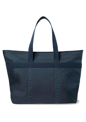 A.P.C. - Logo-print Twill-trimmed Ripstop Tote Bag - Navy