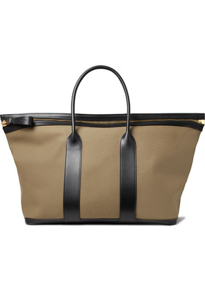 TOM FORD - Leather-trimmed Canvas Holdall - Green