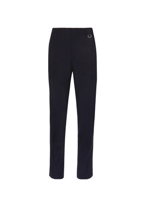 Valentino - Navy Slim-fit Stripe-trimmed Wool And Mohair-blend Trousers - Navy