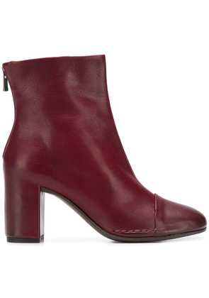 Del Carlo rear zip ankle boots - Red