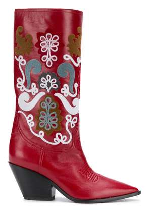 Casadei patch embellished cowboy boots - Red