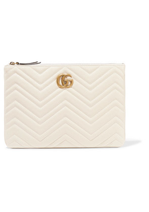 Gucci - Marmont Quilted Leather Pouch - White