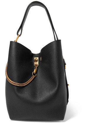 Givenchy - Gv Bucket Textured-leather And Suede Shoulder Bag - Black