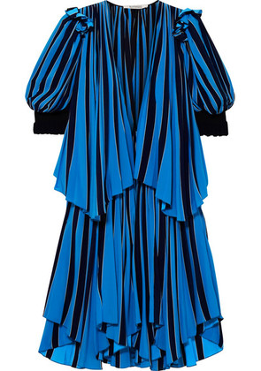 Givenchy - Layered Striped Cotton-crepe Dress - Blue