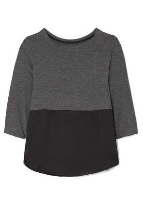 DKNY - Stretch-jersey And Satin Pajama Top - Charcoal