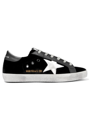 Golden Goose Deluxe Brand - Superstar Distressed Velvet And Leather Sneakers - Black