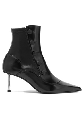 Alexander McQueen - Embellished Glossed-leather Ankle Boots - Black