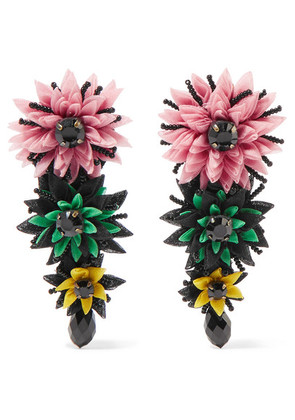 Etro - Silk-tulle, Bead And Crystal Clip Earrings - Pink