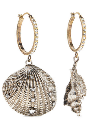 Alexander McQueen - Silver And Gold-tone Swarovski Crystal Hoop Earrings - one size