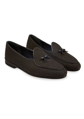 Rubinacci Brown Marphy Flannel Loafers