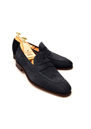 Carmina Navy Suede Penny Loafers