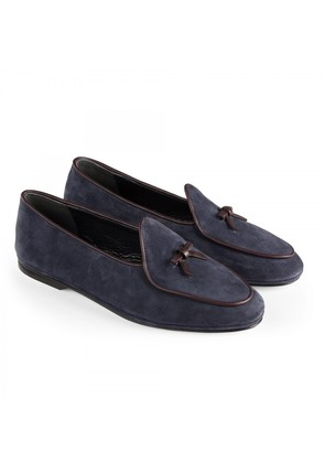 Rubinacci Blue and Brown Marphy Suede Loafers