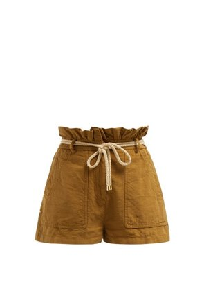 Valentino - Paperbag Waist Belted Cotton Shorts - Womens - Camel