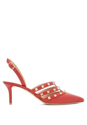 Valentino - Rockstud Slingback Leather Pumps - Womens - Red