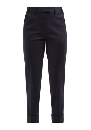 Cefinn - Tailored Turn Up Wool Trousers - Womens - Navy