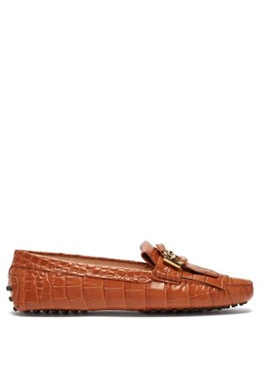 Tod's - Gommini Crocodile Effect Leather Loafers - Womens - Tan