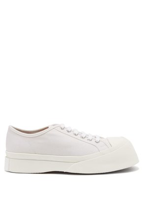 Marni - Exaggerated Sole Low Top Canvas Trainers - Womens - White